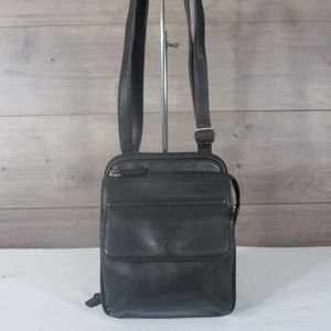 Vintage Fossil Black Leather Crossbody Bag